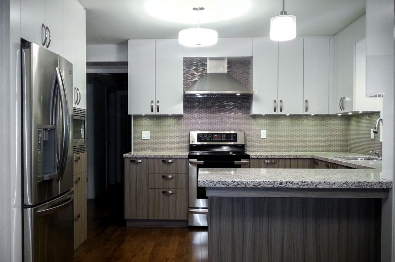 custom kitchen design with granite countertop