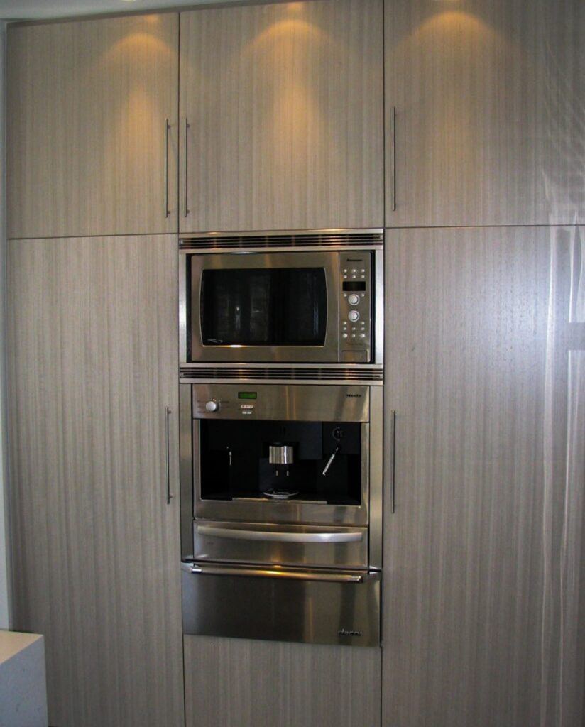 build in oven and microwave in custom kitchen cabinets - functional kitchen layout maple
