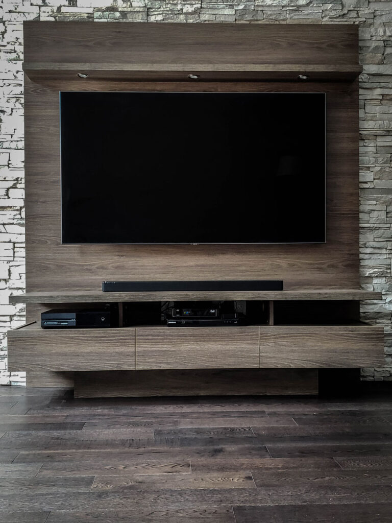 custom living room with entertainment unit - custom shelving units