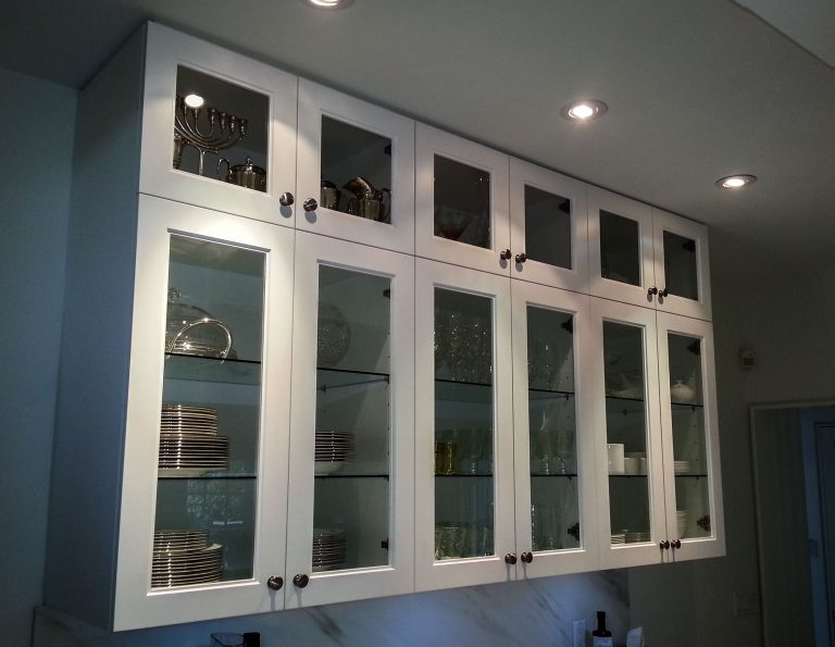 kitchen cabinets with glass panels