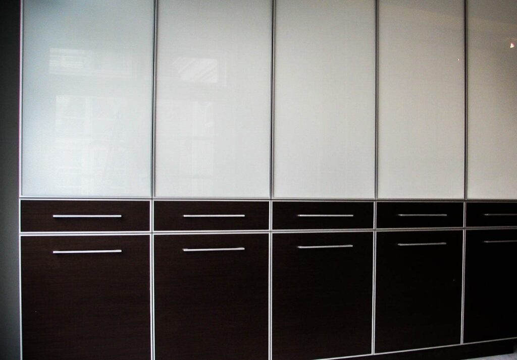 two ton black and white custom storage unit - cabinets designer newmarket