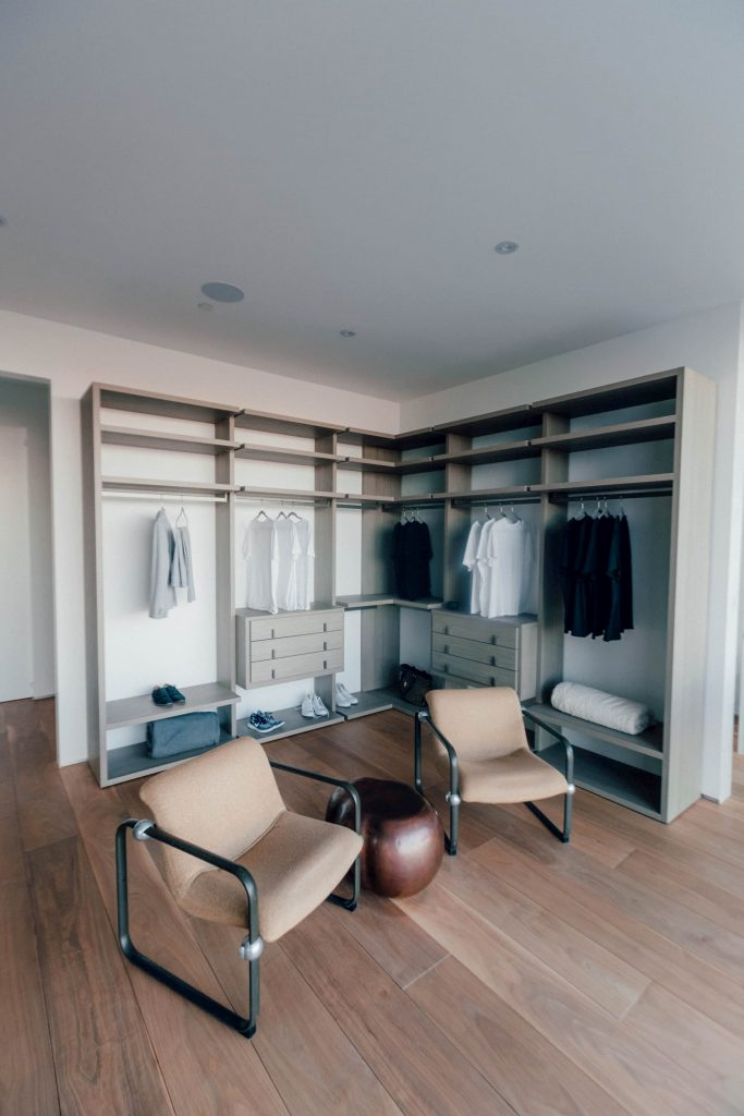 Walk-In-Closets in modern bedroom with cabinets for clothing markham