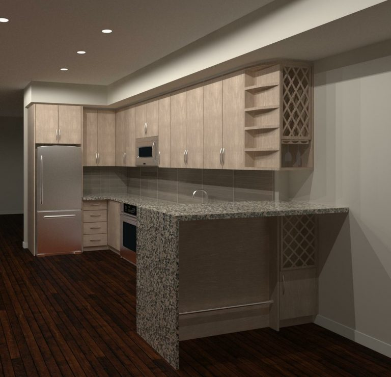 L-shape kitchen design render