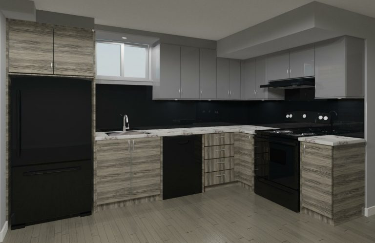 gray and black basement kitchen cabinets - clearview kitchens cabinets designer