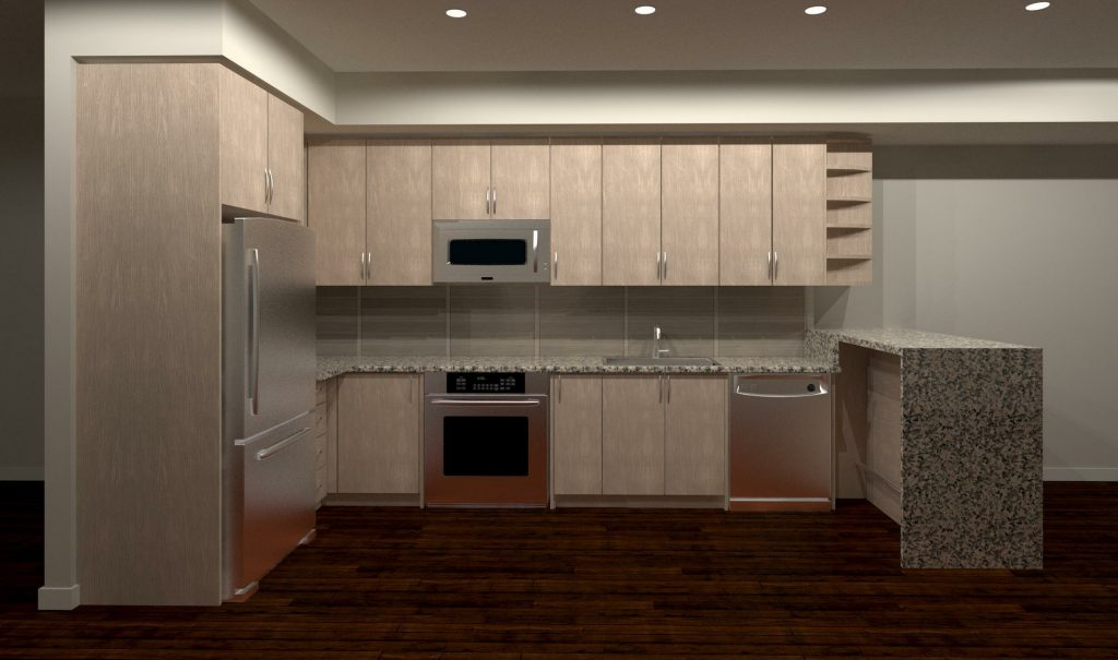 render of custom basement kitchen - design kitchen cabinets GTA