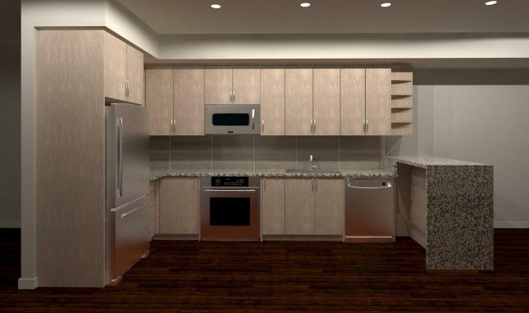 render of custom basement kitchen - design kitchen cabinets GTA