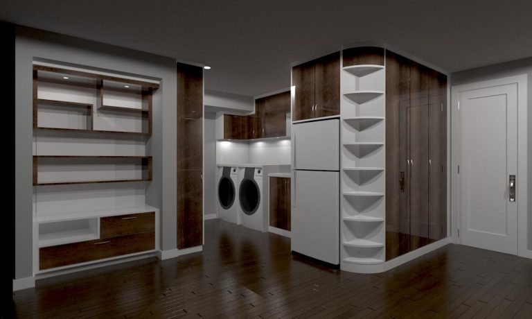 custom basement laundry and kitchen render - custom shelving units toronto