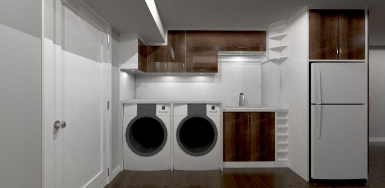 3D render of basement laundry storage units -cabinets designer