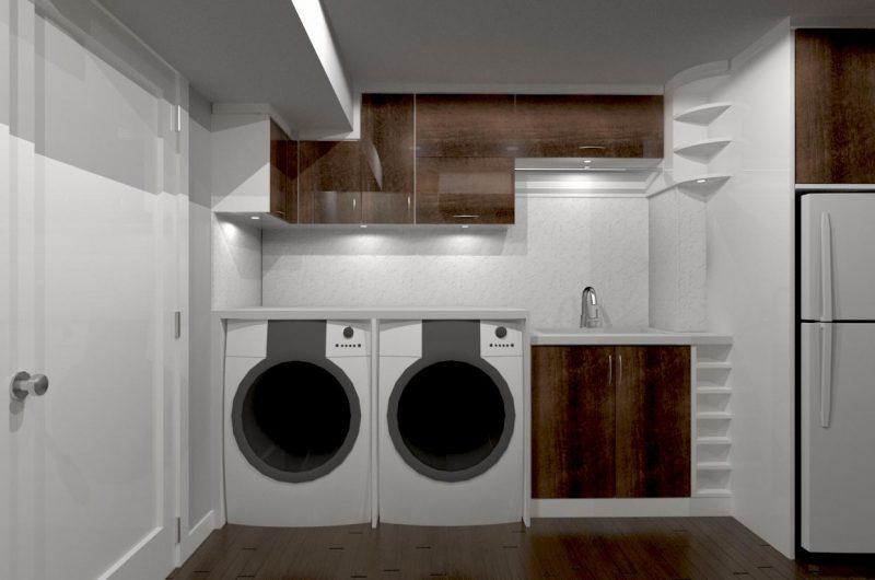 3D render of basement laundry storage units -cabinets designer