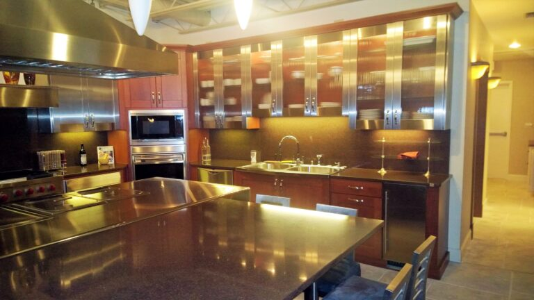 beautiful kitchen designs with Steel cabinets and glass doors Richmond hill