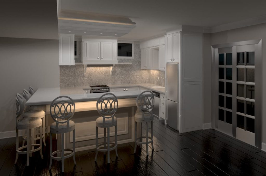 basement small kitchen with back lit cabinets - cabinets for a kitchen Toronto
