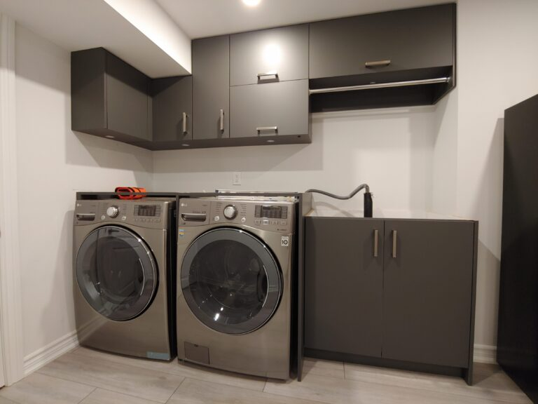 basement laundry room with custom storage cabinets - cabinets designs maple