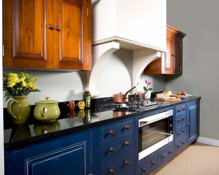 custom blue and brown two tone kitchen modern kitchen decor toronto
