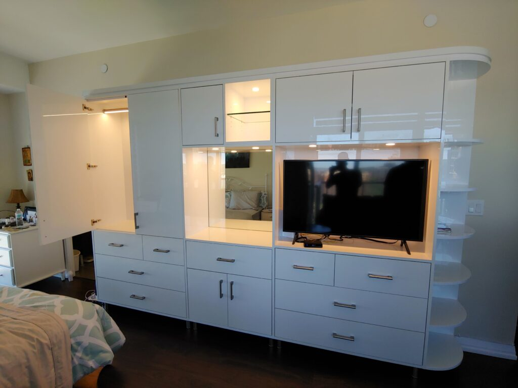 living room cabinetry unit with gloss finish - cabinets designs