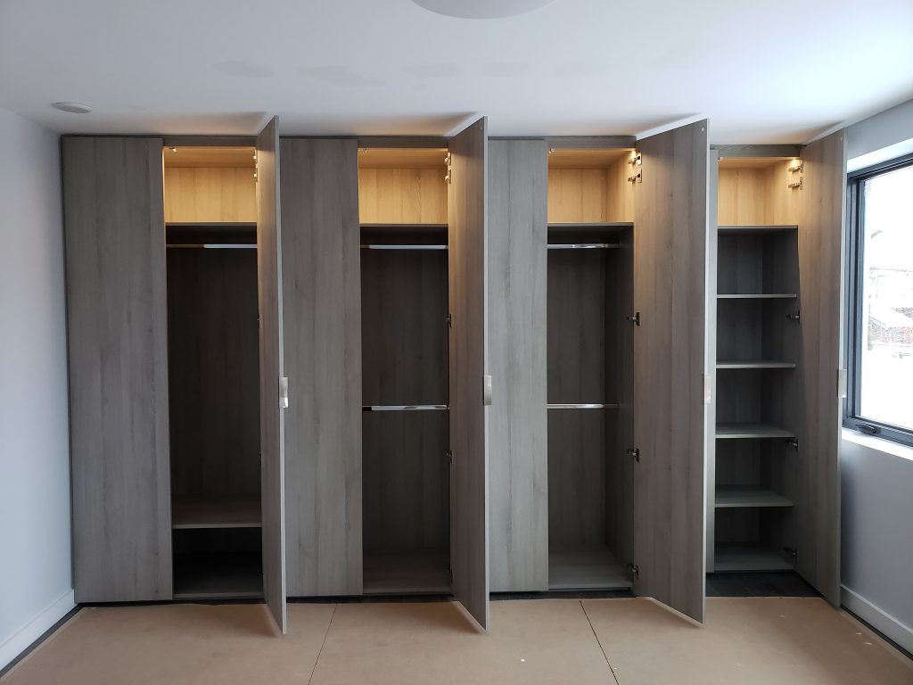 custom cabinets with back lit shelves - cabinets makers newmarket