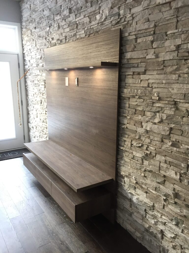 custom tv stand with shelving by clearview kitchen toronto