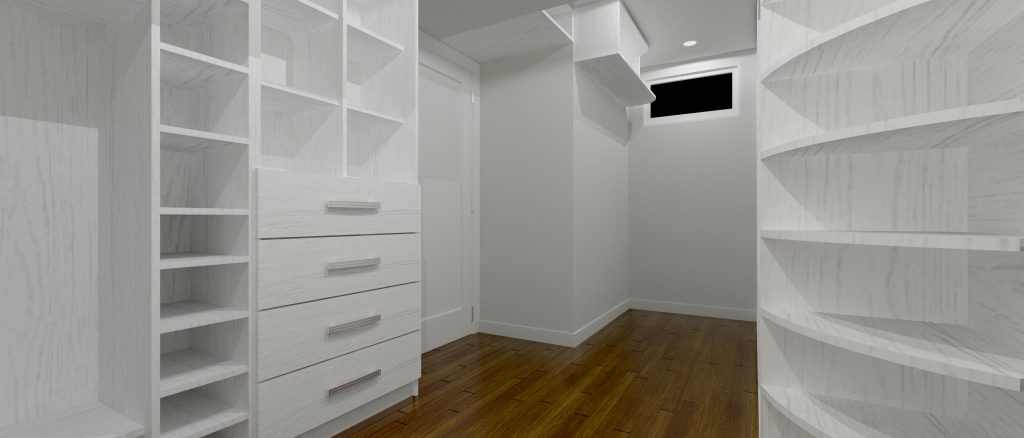 large custom wardrobe room in the basement - custom shelving units north york