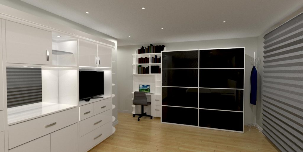 basement living room with work space and entertainment units - cabinets designer toronto