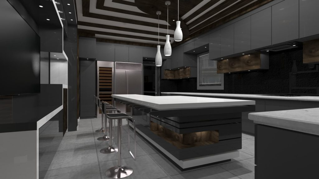 luxury custom kitchen design render - kitchen resurface
