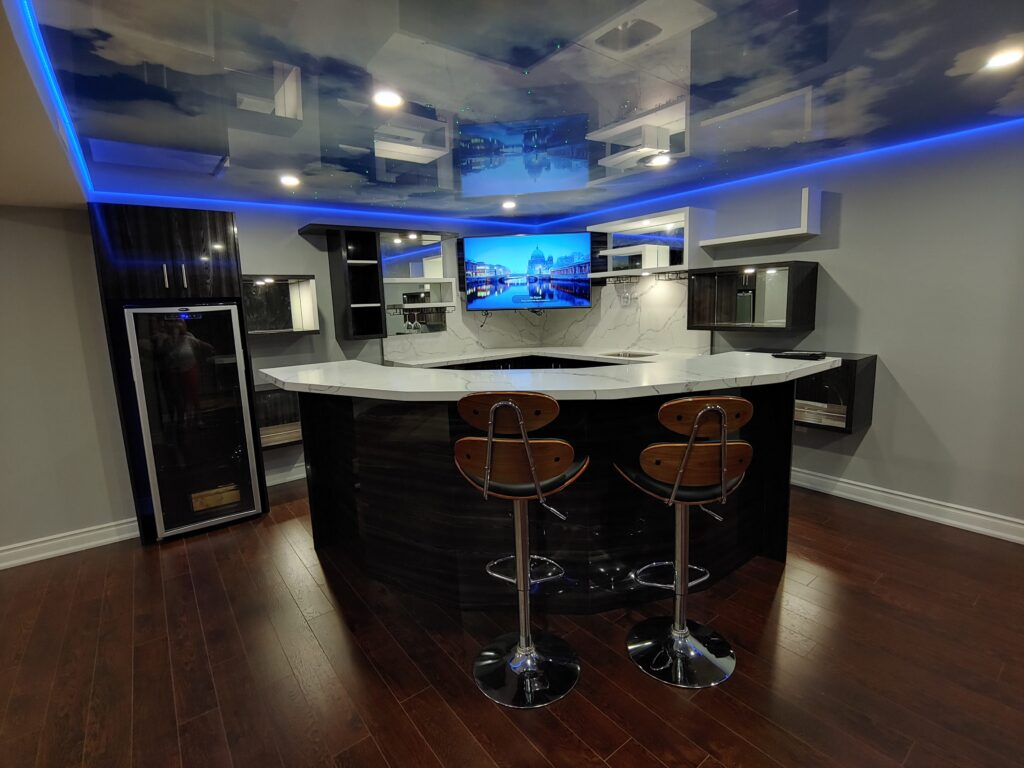 basement bar with beautiful cabinets designs by clearview kitchens toronto