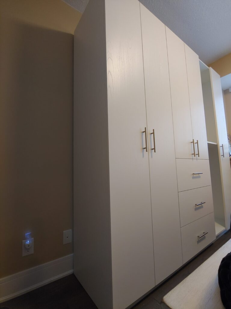 bedroom with custom wardrobe - cabinets with storage aurora