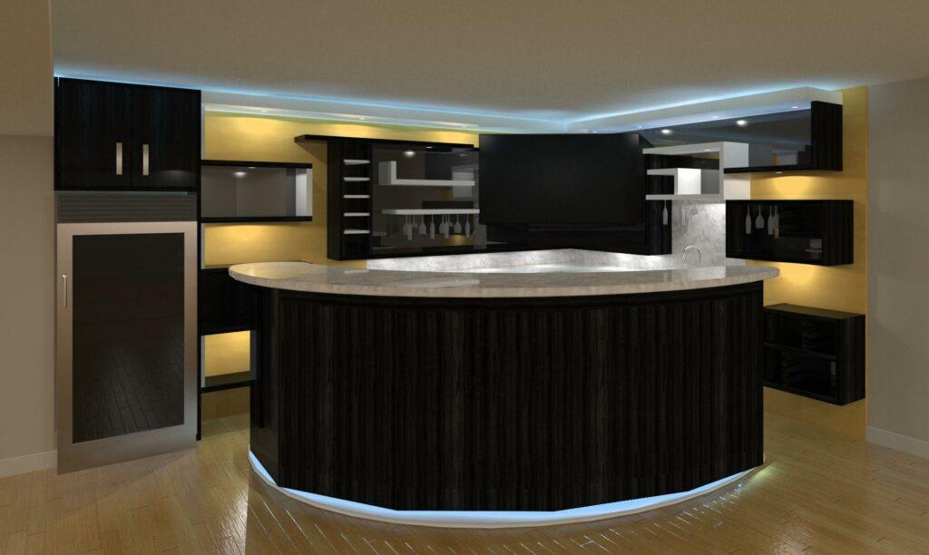 basement bar with bar stand - kitchen resurface