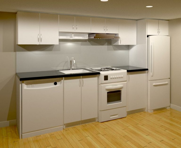 small basement kitchen render design