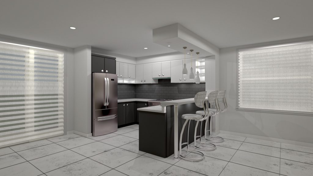 small kitchen with bar stand render design cabinets kitchen