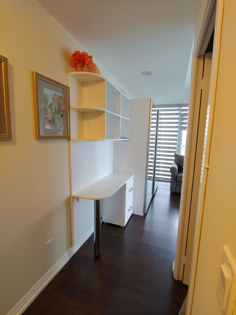 home office with custom work space unit - clearview kitchen cabinets makers