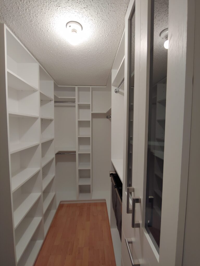 storage cabinetry in modern basement - custom shelving units aurora