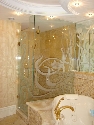 amazing bathroom with decorative glass shower by clearview kitchens mississauga