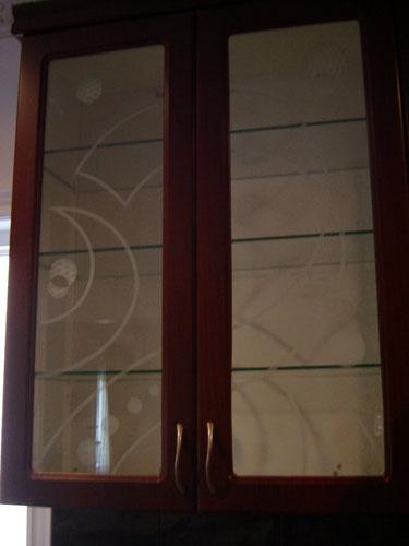 custom kitchen cabinet with decorative glass markham