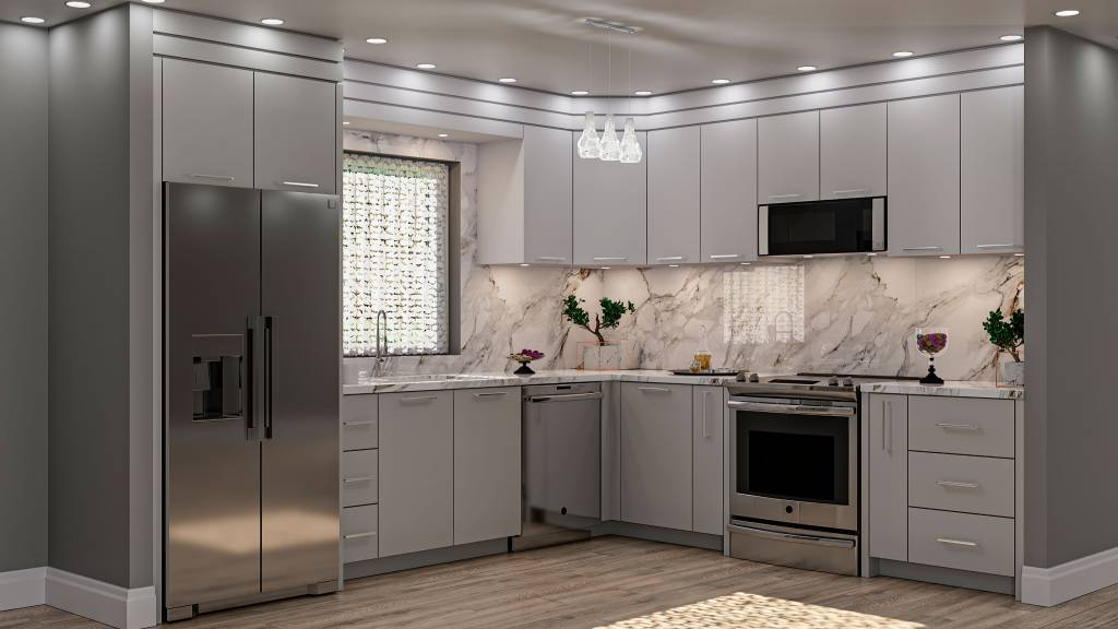 backlit marble splash wall and white cabinets in custom kitchen by clearview kitchen