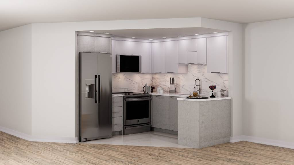 small basement kitchen with build in appliances - custom kitchen renovations
