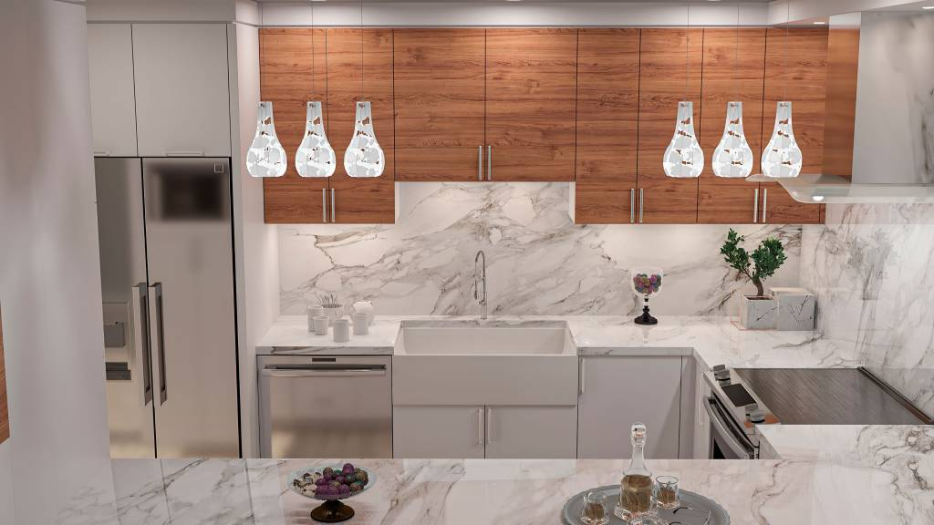 modern kitchen with marble splash wall and counter top - kitchen remodeling toronto