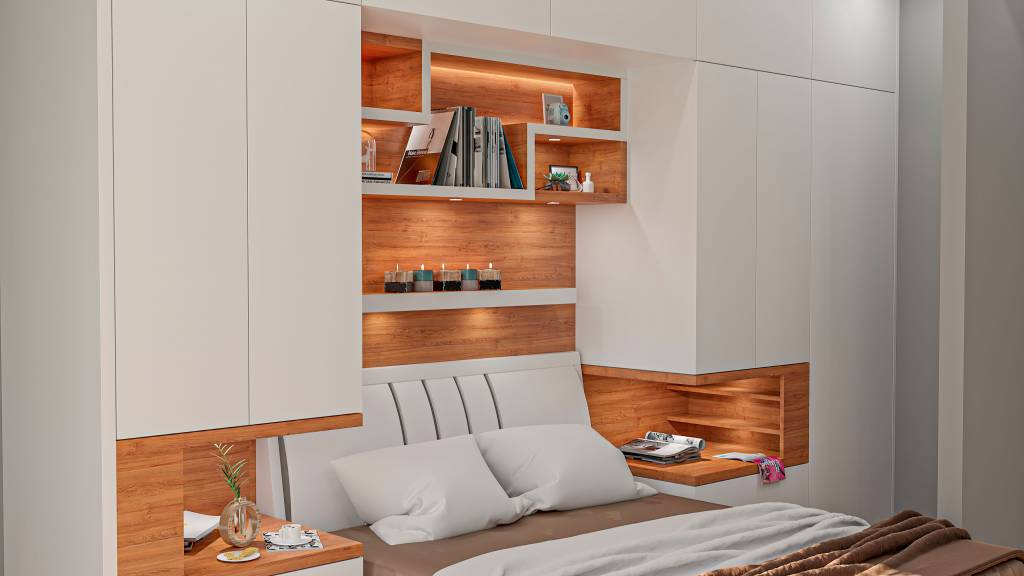 custom bedroom with backlit wall unit