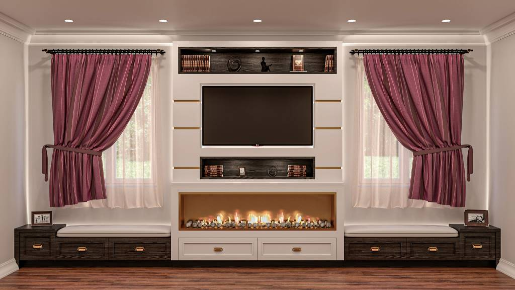 luxury family room with build in fireplace and wooden floor - custom closet toronto