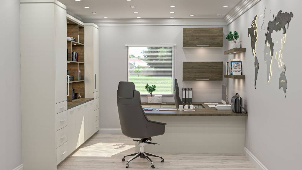 modern home office with custom wall units