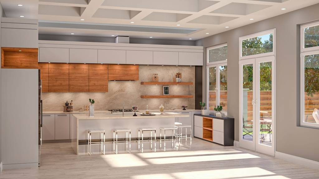 custom render of amazing kitchen with coffered ceiling - custom kitchen renovations