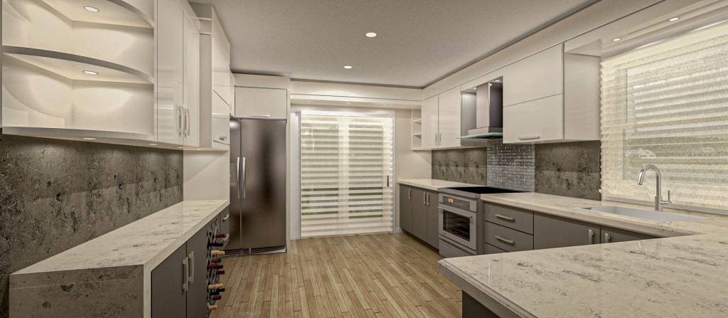 custom parallel kitchen with backlit shelves and cabinets - kitchen remodeling