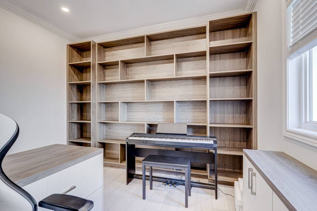 home office with Custom Wall Units