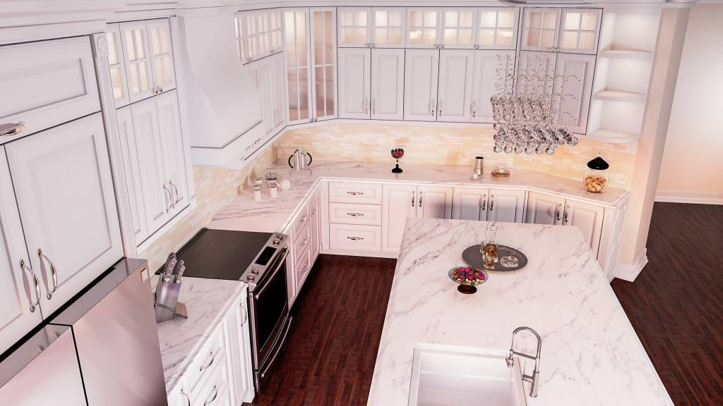marble countertop and backlit kitchen cabinets in custom kitchen - custom kitchen design