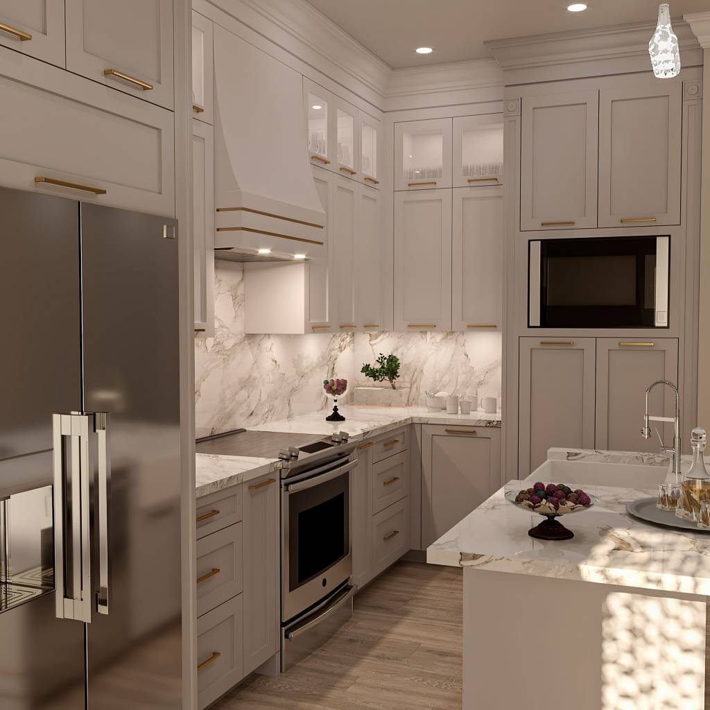 classic kitchen with backlit kitchen cabinets and marble countertop - kitchen countertops