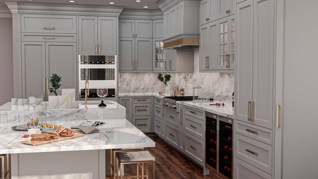 custom kitchen with white cabinets and golden trim - kitchen cabinets toronto