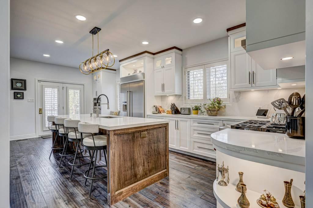 custom kitchen cabinets with backlit shelves - custom kitchen design North York