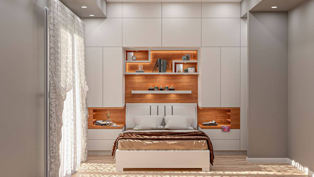 modern bedroom with custom wall unit