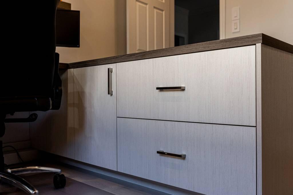 custom cabinets in office desk