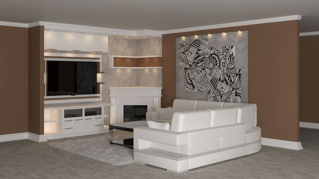 custom family room with entertainment unit and beige wall color by clearview kitchens