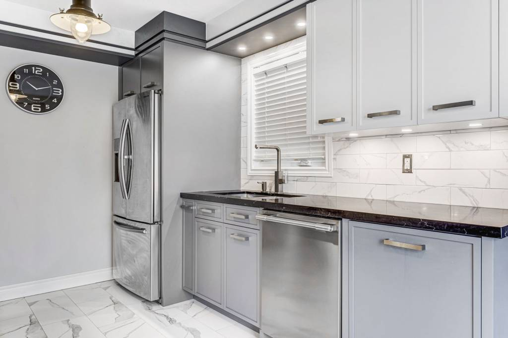 gray and white custom kitchen cabinets - kitchen remodeling
