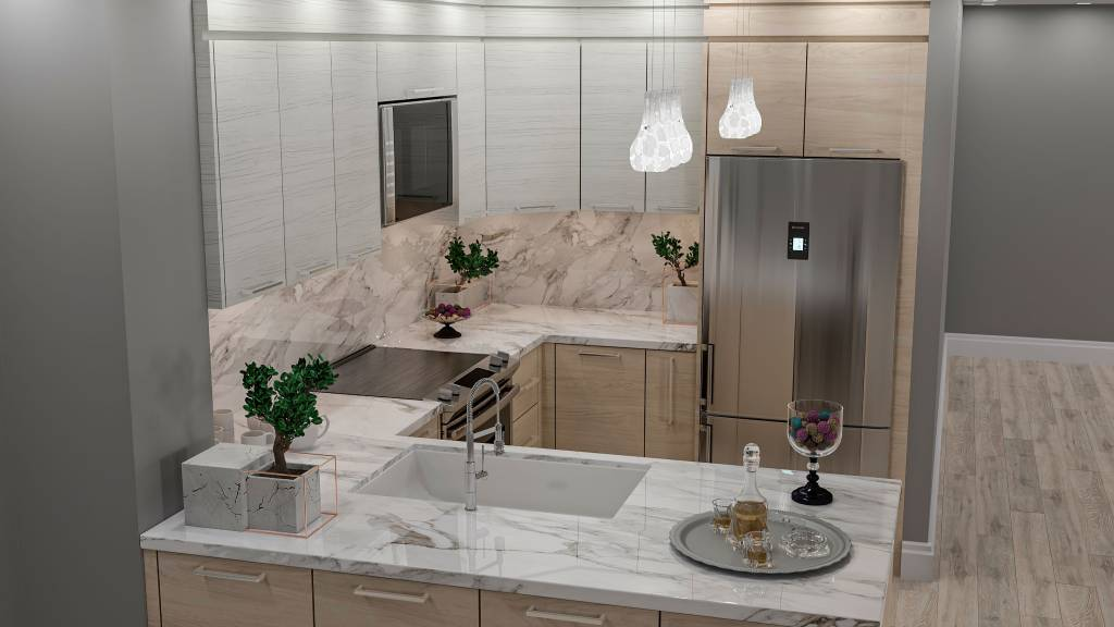 modern U shape kitchen with marble countertop - kitchen countertops